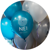 NEI balloons at an event.