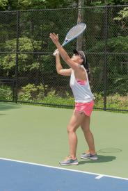 image tagged with tennis, woman, playing, physical activity, gym clothes, …;