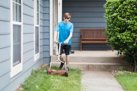 image tagged with athletic, lawnmower, caucasian, boy, cuts, …;