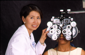 image tagged with lenses, phoropter, lab coat, clinic, eye doctor, …;