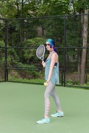 image tagged with exercise, plays, tennis, girl, caucasian, …;